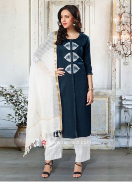 Wonderful Blue & White Color Palazzo Suit