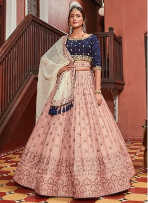 Wonderful Choli Suit In Peach And Navy Blue Color