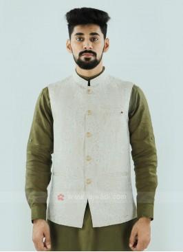 Wonderful Cream Color Nehru Jacket