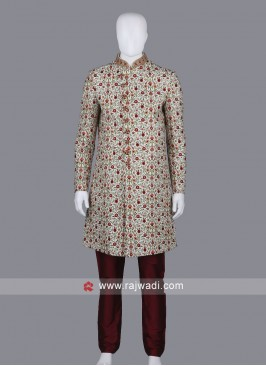 Wonderful Cream Color Sherwani