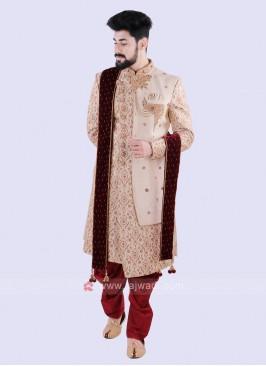 Wonderful Cream & Red Sherwani