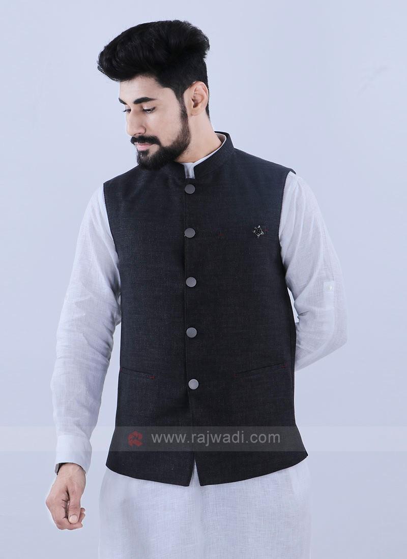 Wonderful Dark Grey Nehru Jacket