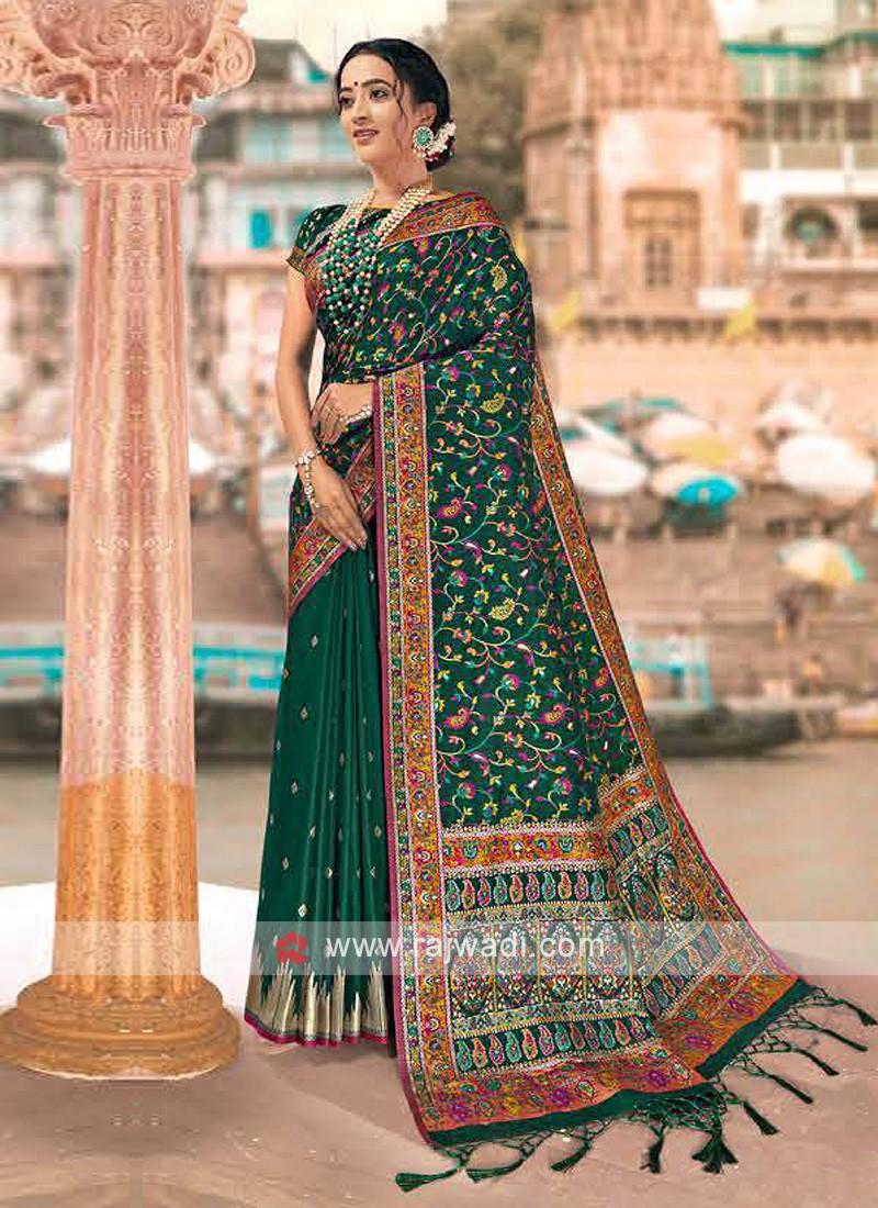 Wonderful Green Weaving Saree
