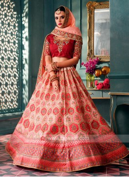 Wonderful Lehenga Choli In Red & Peach