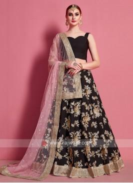 Wonderful Light Pink & Black Color Lehenga Choli