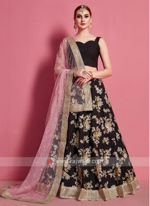Wonderful Light Pink & Black Color Lehenga Choli