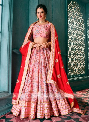 Wonderful Light Pink & Red Lehenga Choli