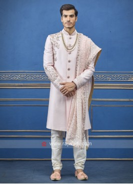 Wonderful light pink sherwani