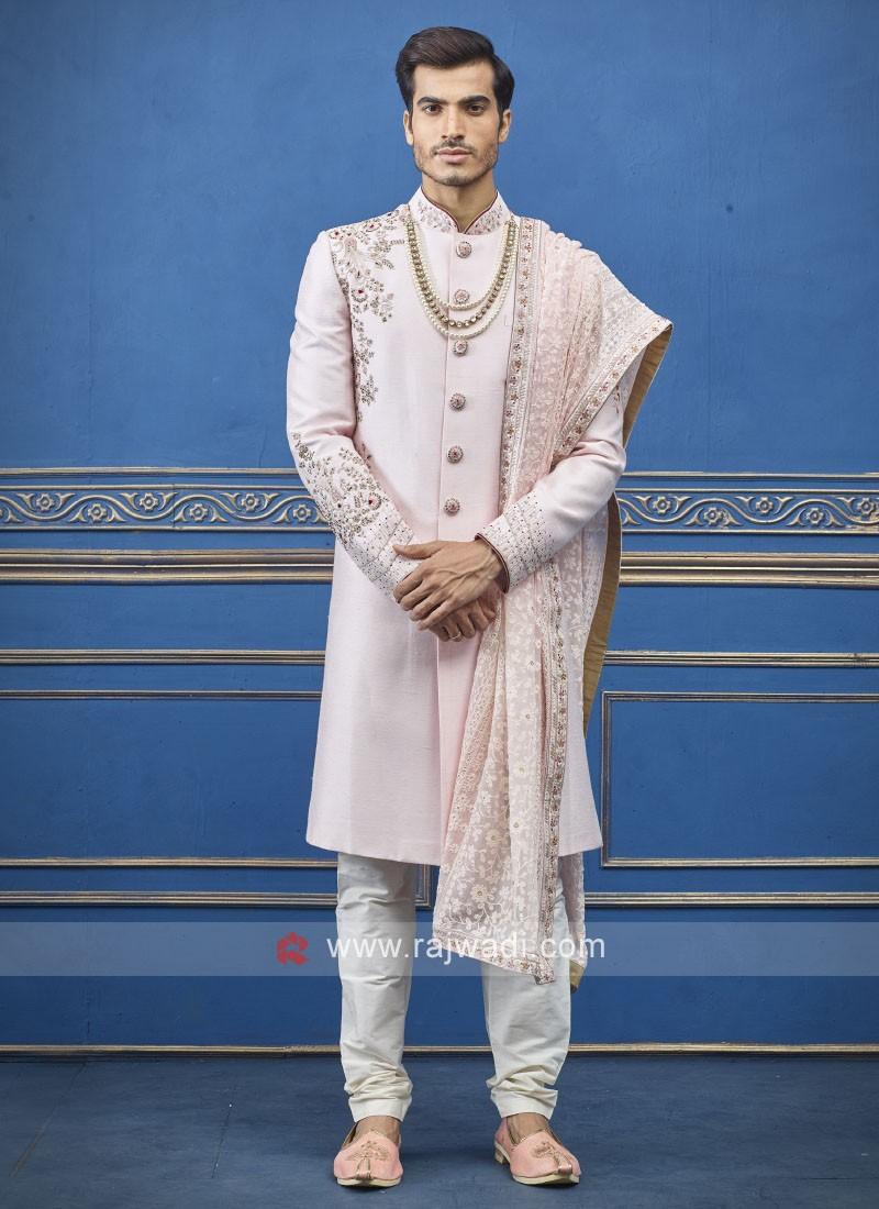Wonderful light pink sherwani