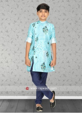 Flower Print Boys Kurta Set