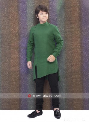 Wonderful Linen Dark Green Kurta Pajama