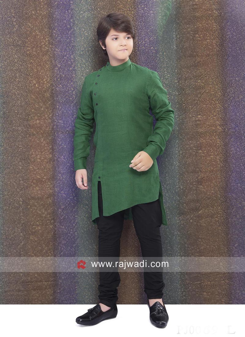 Wonderful Linen Dark Green Kurta Pajama