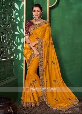Wonderful Mustard Yellow Saree