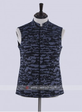 wonderful navy blue nehru jacket