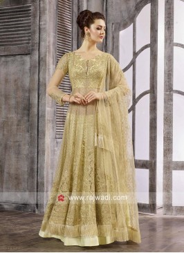 Semi Stitched Light Yellow Salwar Kameez