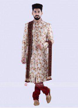 Wonderful Off White And Red Colour Sherwani