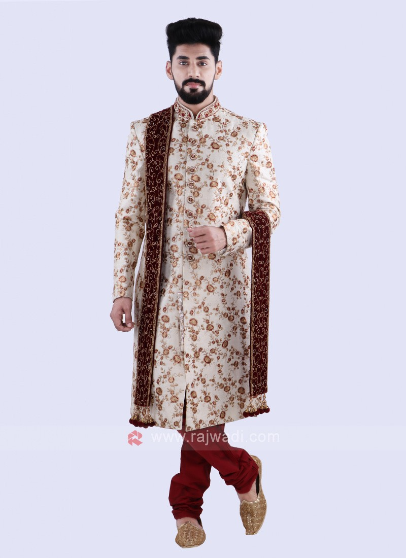 Wonderful Off White And Red Colour Sherwani