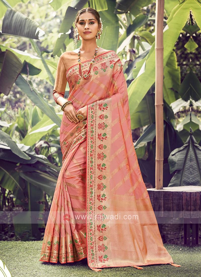 Wonderful Peach Color Saree