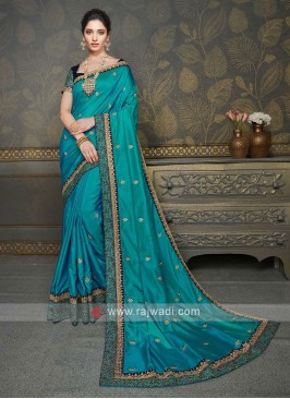 Wonderful Peacock Blue Color Saree