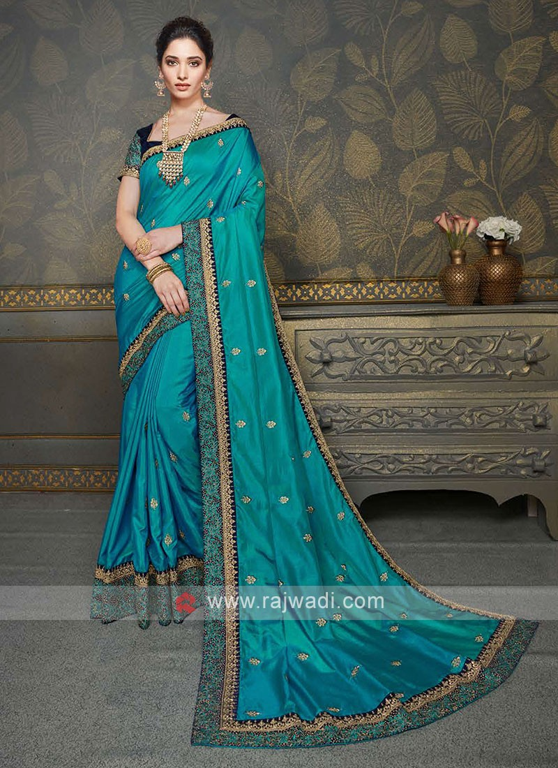 Wonderful Peacock Blue Color Saree