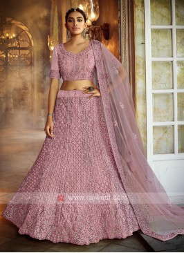 Wonderful Pink Net Lehenga Choli