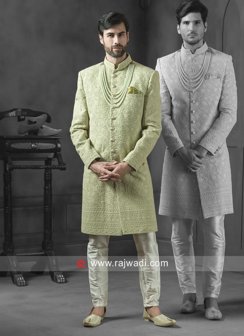 Wonderful Pista Green Sherwani