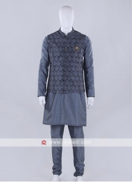 Wonderful printed grey nehru jacket
