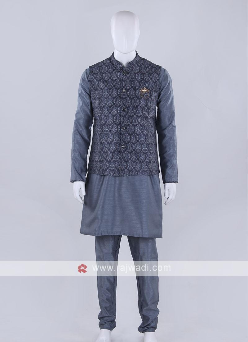 Wonderful printed grey nehru jacket