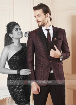 wonderful printed maroon color suit