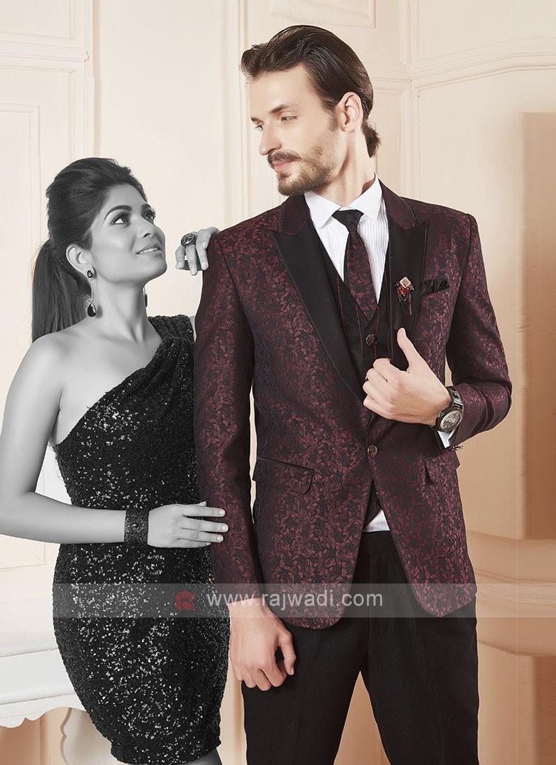 wonderful printed maroon color suit
