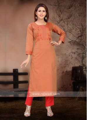 Wonderful Rust & Red Kurta Set