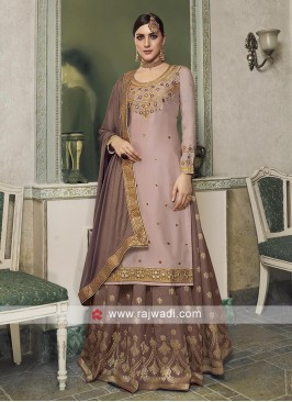 Light pink and light brown salwar kameez.