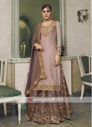Light pink and light brown salwar kameez.