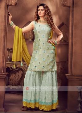 Wonderful Sea Green Color Gharara Suit