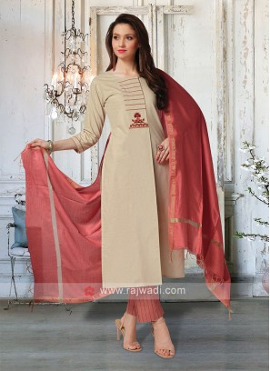 Wonderful Skin & Coral Salwar Suit