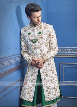 Wonderful white and green sherwani