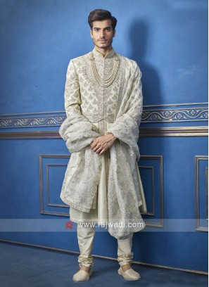 Wonderful white and green sherwani