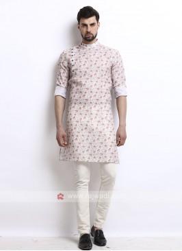 wonderful white color printed kurta