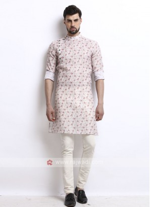wonderful white color printed kurta