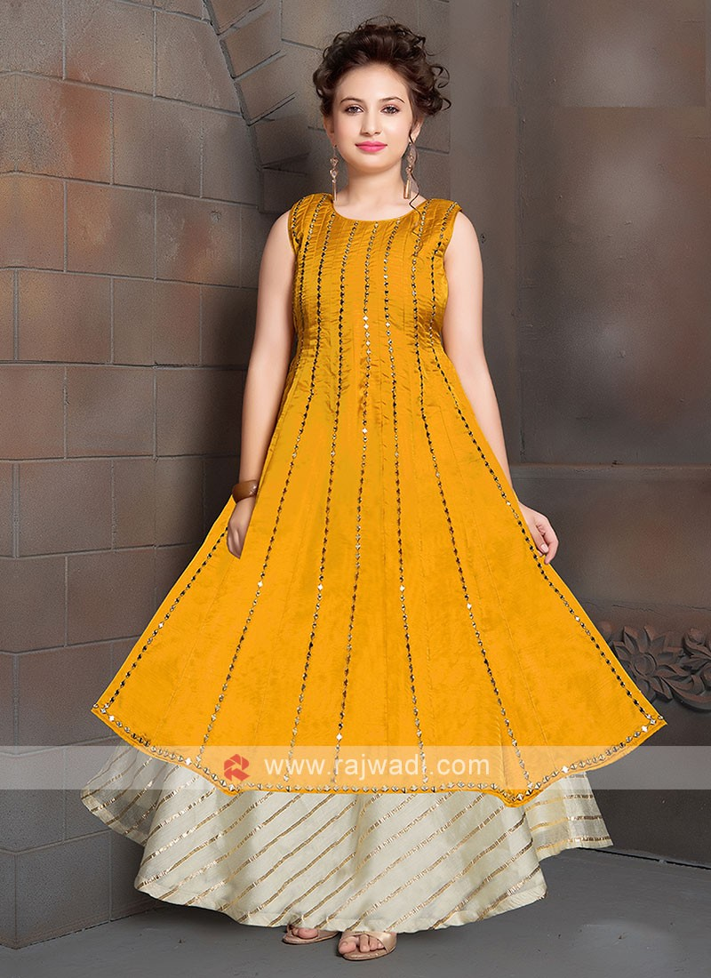 Wonderful Golden Yellow Gown For Girls