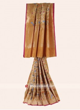 Woven Pure Silk Saree in Mustard Yellow