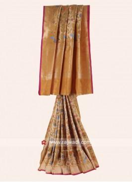 Woven Pure Silk Saree in Mustard Yellow