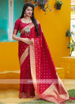 Woven Saree In Red
