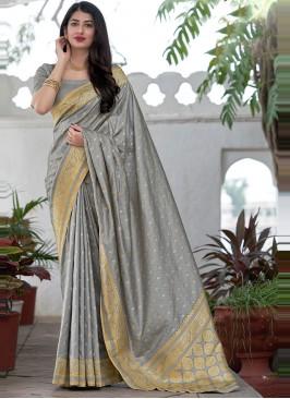 Woven Satin Silk Traditional Designer Saree in Grey
