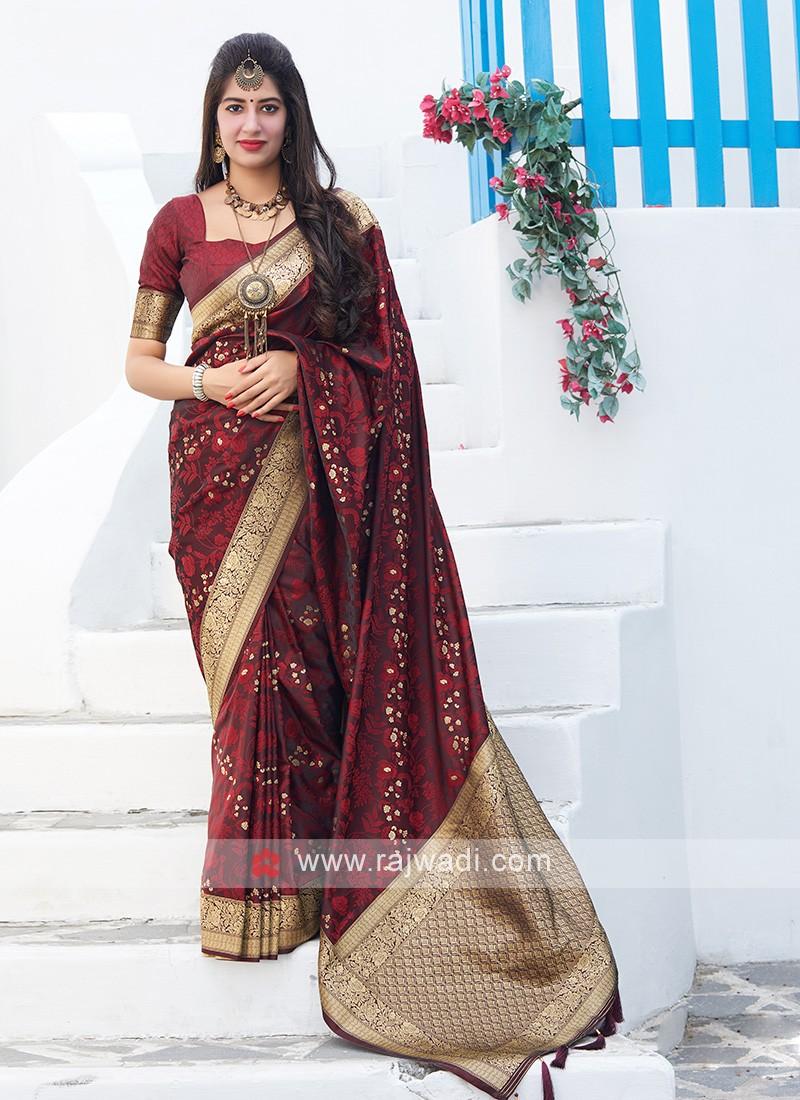 Woven Silk Saree in Maroon