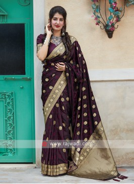Woven Silk Saree In Purple