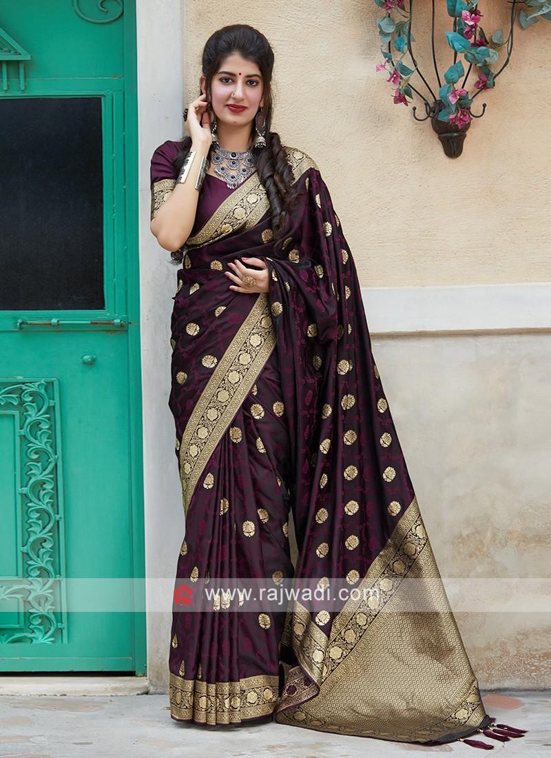 Woven Silk Saree In Purple
