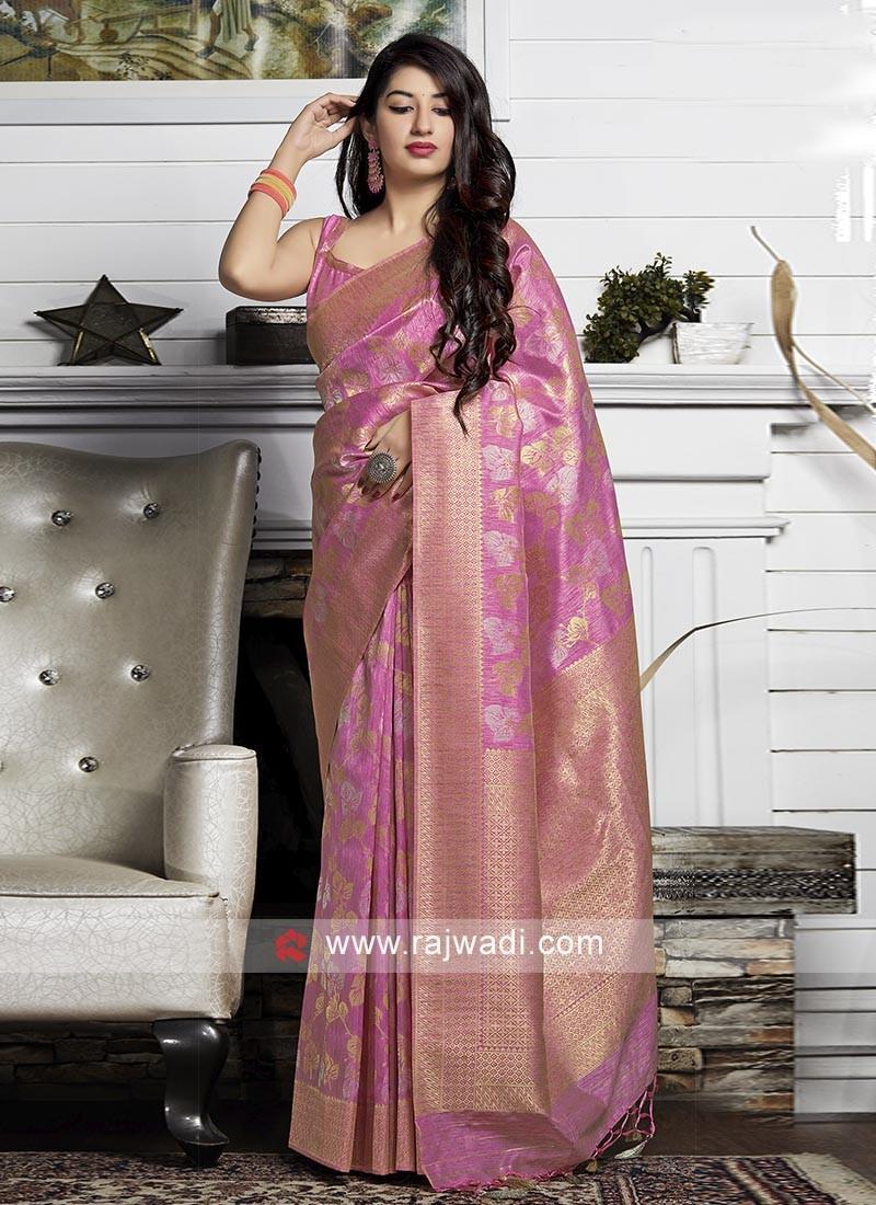 Woven Work Pink Silk Saree