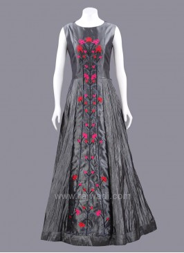 Wrinkle Silk Floral Embroidered Full Length Gown