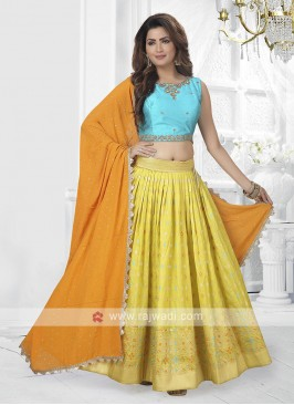 yelllow and sky blue lehenga choli